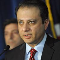 Photo -   U. S. Attorney for the Southern district of N.Y. Preet Bharara speaks at a news conference, Tuesday, Nov. 20, 2012, in New York. Mathew Martoma, a former hedge fund portfolio manager was arrested Tuesday on charges that he helped carry out the most lucrative insider trading scheme in U.S. history, enabling investment advisers and their hedge funds to make more than $276 million in illegal profits. (AP Photo/Louis Lanzano)