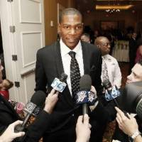 Photo - Oklahoma City Thunder NBA basketball player  Kevin  Durant is interviewed by the media before The March of Dimes Sports Headliners Banquet in Oklahoma City, Oklahoma April 08 , 2010. Photo by Steve Gooch
