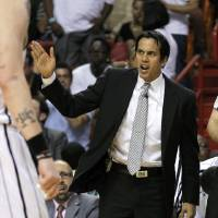 Photo - Miami Heat head coach Erik Spoelstra shouts instructions to his team during the second half of an NBA basketball game against the New York Knicks, Thursday, Dec, 6, 2012, in Miami. The Knicks won 112-92. (AP Photo/Alan Diaz)