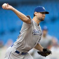 Photo -   Kansas City Royals starting pitcher Luke Hochevar pitches to the Toronto Blue Jays during the first inning of a baseball game in Toronto on Thursday, July 5, 2012. (AP Photo/The Canadian Press, Frank Gunn)