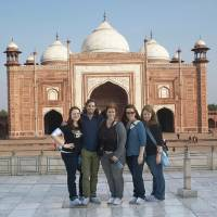 Photo - Visiting the Taj Mahal in India as part of the Oklahoma City contingent of Rotary International's Global Study Exchange are, from left, Sarah Duggar, Ozarka Water; Joe Hudson, Regional Food Bank of Oklahoma; Megan Elliott, Accel Financial Staffing; Kate Blalack, Oklahoma State University; and Lindsay Houts, OPUBCO.  PHOTO PROVIDED
