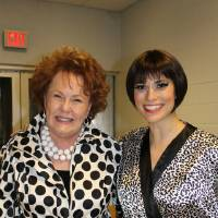 """Photo -  Bobbie Burbridge Lane poses with actress Milena Govich, who played the lead in Lyric's """"Sweet Charity'' production. Lane, who recently celebrated her 78th birthday, was Lyric's original """"Charity'' in the 1969 production of the show."""