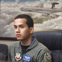 """Photo - Left: Senior Airman Henry Moreno, one of the Air Force personnel involved in the making of the movie """"Transformers: Revenge of the Fallen,"""" speaks at Tinker Air Force Base about his movie experience.  Photo By Paul Hellstern,  The Oklahoman"""