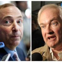 Photo - This photo combo shows NHL Commissioner Gary Bettman, left, talking to the media in Toronto, on Thursday, Aug. 23, 2012, and at right is Donald Fehr, executive director of the NHL Players' Association, speaking to the media, Friday, Nov. 9, 2012, in New York. The NHL and the players' association said they reached a tentative agreement early Sunday, Jan. 6, 2013, in New York, to end a nearly four-month-old lockout that threatened to wipe out the season. (AP Photo)