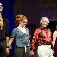 Photo -   From left, Cheyenne Jackson, Ari Graynor, Henry Winkler and Alicia Silverstone on stage at the curtain call for the opening night performance of the Broadway play,