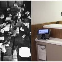 Photo - This combination of Associated Press file photos show women bank cashiers working in a London branch of the Midland Bank on July 23, 1940, left, and a  JPMorgan Chase lobby in New York in March 2013. In an age when checks can be deposited by smartphone and almost everyone retrieves cash from ATMs, the corner bank can seem a relic, with its paper deposit slips, marble countertops and human tellers behind glass partitions. (AP Photo/File)