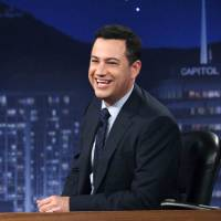 Photo -   This July 25, 2012 photo released by ABC shows Jimmy Kimmel hosting his late night show