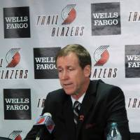 Photo -   New Portland Trail Blazers head coach Terry Stotts speaks during an NBA basketball news conference, Wednesday, Aug. 8, 2012, in Portland, Ore. (AP Photo/Nigel Duara)