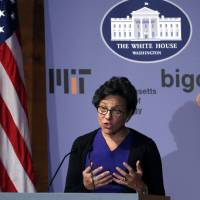 Photo - U.S. Commerce Secretary Penny Pritzker speaks at the Massachusetts Institute of Technology in Cambridge, Mass., Monday, March 3, 2014. MIT has teamed up with the White House to host a conference on how to maintain privacy in the digital era and to discuss ways to protect privacy as technology continues to evolve. (AP Photo/Elise Amendola)
