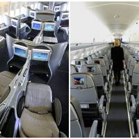 """Photo - This combination of Associated Press file photos show, on the left, a first class interior section of a United Airlines 747 plane at San Francisco International Airport in San Francisco in 2011, and on the right, the coach interior section of  a JetBlue E190 plane at  Seatac International Airport in Seattle, in 2008.  Henry Harteveldt, an airline analyst with Hudson Crossing says """"First class has become a way for a traveler to have an almost private jet-like experience."""" (AP Photo/File)"""