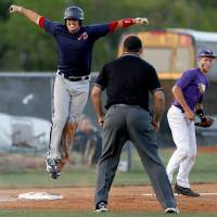 Photo - Asher's Trucker Lee celebrates a triple beside Red Oak's Garrett Noah in the second inning of the Class B state baseball championship game at Dolese Park in Warr Acres, Okla., Saturday, May 10, 2014. Photo by Bryan Terry, The Oklahoman