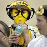 Photo - A Seiling fan is ready to watch the game during the Class A girls high school basketball state championship game between Seiling and Pond Creek-Hunter at the State Fair Arena in Oklahoma City, Okla., on Saturday, March 8, 2014.  Photo by Chris Landsberger, The Oklahoman