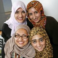 Photo - The first Mercy School graduating class is made up of, clockwise from top left, Zoha Qureshi, 17; Areebah Anwar, 18; Isra Cheema, 17; and Jasmine Shafik, 17. Photo by Nate Billings, The Oklahoman  NATE BILLINGS - NATE BILLINGS