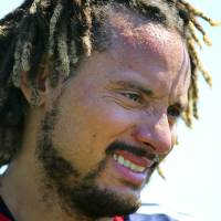 Photo - New England Revolution's newest player Jermaine Jones looks on during a soccer training session Tuesday, Aug. 26, 2014, in Foxborough, Mass. (AP Photo/The Boston Globe, John Tlumacki)  BOSTON HERALD OUT, QUINCY OUT; NO SALES