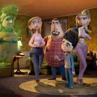 "Photo - Grandma Babcock, voiced by Elaine Stritch; Sandra Babcock, voiced by Leslie Mann; Perry Babcock, voiced by Jeff Garlin; Norman, voiced by Kodi Smit-McPhee; and Courtney, voiced by Anna Kendrick; are seen in the 3-D stop-motion film, ""ParaNorman."" AP Photo/Focus Features"