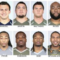 Photo - FILE - In these photos provided by the NFL, taken at the NFL Combine in Indianapolis in April  2014, NFL Draft prospects are shown. Top row from left are Khalil Mack, Buffalo; Johnny Manziel, Texas A&M; Zack Martin, Notre Dame; Jake Matthews, Texas A&M; Morgan Moses, Virginia and C.J. Mosley, Alabama. Bottom from left are Louis Nix, Notre Dame; Calvin Pryor, Louisville; Greg Robinson, Auburn; Bradley Roby, Ohio State, Austin Seferian-Jenkins, Washington, and Ryan Shazier, Ohio State. (AP Photo/NFL)  NO SALES