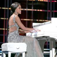 Photo - This photo courtesy Miss America Organization shows Miss North Dakota Rosie Sauvageau took top honors Thursday, Jan. 10, 2013, after her piano and vocal rendition of