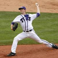 Photo - TCU starting pitcher Tyler Alexander delivers against Oklahoma State in the second inning of the championship game during the Big 12 conference NCAA college baseball tournament in Oklahoma City, Sunday, May 25, 2014. (AP Photo/Alonzo Adams)