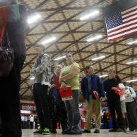 Photo -   FILE - In this April 10, 2012, file photo, people wait in a line at a job fair in Gresham, Ore. The state releases its latest jobless figures, Tuesday, April 17, 2012.. Employers in April posted the fewest job openings in five months, suggesting hiring will remain sluggish in the months ahead. The Labor Department said Tuesday, June 19, 2012 that job openings fell to a seasonally adjusted 3.4 million in April, down from 3.7 million in March. (AP Photo/Rick Bowmer, file)