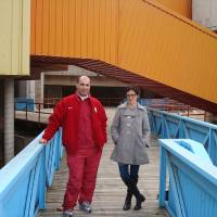 Photo - Architect Farooq Karim and  public relations consultant Tracey Zeeck stand along one of the ramps leading into downtown Oklahoma City's closed Stage Center. The pair hope to turn the building into a children's museum.  Provided