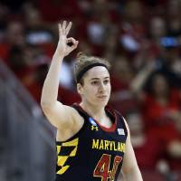 Photo - Maryland guard Lexie Brown (4) reacts after hitting a 3-point basket against Louisville during the first half of a regional final in the NCAA women's college basketball tournament, Tuesday, April 1, 2014, in Louisville, Ky. (AP Photo/John Bazemore)