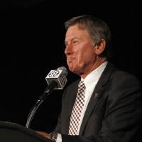 Photo - South Carolina football coach Steve Spurrier speaks to media at the Southeastern Conference media days, Tuesday, July 15, 2014, in Hoover, Ala. (AP Photo/Butch Dill)