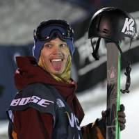 Photo - Lyman Currier, of the United States, celebrates after competing during the men's U.S. Grand Prix freestyle halfpipe skiing event Saturday, Jan. 18, 2014, in Park City, Utah. Currier came in first place. (AP Photo/Rick Bowmer)