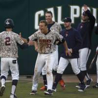 Photo - The Pepperdine bench comes out to celebrate a go-ahead run by Hutton Moyer (2) in the seventh inning of an NCAA college baseball tournament regional game against Cal Poly on Saturday, May 31, 2014, in San Luis Obispo, Calif. (AP Photo/Aaron Lambert)