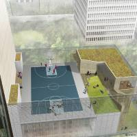 Photo - DRAWING: This rendering shows a rooftop basketball court overlooking Kerr Park that will be part of a new building planned by SandRidge Energy. RENDERING PROVIDED BY SANDRIDGE ORG XMIT: 0912050052063363