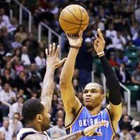 Photo - Russell Westbrook shoots during an April 9 game against the Utah Jazz in Salt Lake City. AP Photo