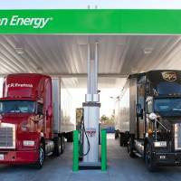 Photo - A Clean Energy Fuels liquefied natural gas fueling station is shown in Las Vegas. Photo provided