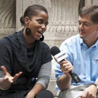 Photo - In this Sept. 27, 2012 photo provided by Jackson Hewitt Tax Service, Mark Steber, right, interviews Justine Watson about the fiscal cliff in Madison Square Park for Jackson Hewitt's Tax Bites video series, in New York. (AP Photo/Jackson Hewitt Tax Service)