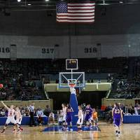 Photo -  Anadarko and Ft. Gibson take to the court during the 4A girl State Basketball Championship game between Ft. Gibson High School and Anadarko High School at State Fair Arena on Saturday, March 10, 2012 in Oklahoma City, Okla.  Photo by Chris Landsberger, The Oklahoman