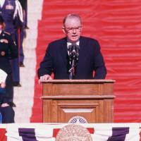 Photo - Bellmon addresses the crowd at the Capitol on Jan. 13,  1987, after being sworn in as governor for his second term.    GEORGE R. WILSON 1987 - OKLAHOMAN ARCHIVE PHOTO