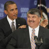 "Photo -   File- This Aug. 4, 2010 file photo shows President Barack Obama standing with AFL-CIO Presidet Richard Trumka after he spoke about jobs and the economy at the AFL-CIO Executive Council in Washington. ""There are things the president can do, and we'll be expecting that leadership from President Obama,"
