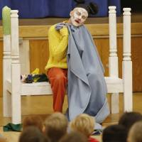 "Photo - Zac Engle, with the Tulsa Opera, performs ""Mooch the Messy"" on Monday for Monroe Elementary students in Norman. Photo By Steve Gooch, The Oklahoman"
