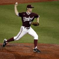 Photo - Stanford pitcher Marcus Brakeman (16) throws against Indiana in the sixth inning during an NCAA college baseball regional tournament game in Bloomington, Ind.,  Monday, June 2, 2014. (AP Photo/AJ Mast)