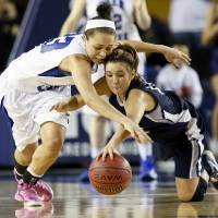 Photo - Deer Creek's Ashley Gibson, left, and Shawnee's Bailey Taylor (20) chase the ball during the Class 5A girls championship high school basketball game in the state tournament at the Mabee Center in Tulsa, Okla., Saturday, March 9, 2013. Deer Creek defeated Shawnee, 59-44. Photo by Nate Billings, The Oklahoman