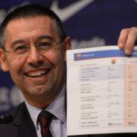 Photo - FC Barcelona's president Josep Maria Bartomeu shows a paper with detaitls of the contract of Neymar at the Camp Nou stadium in Barcelona, Spain, Friday, Jan 24, 2014. Barcelona says its board of directors is calling an ''extraordinary'' meeting, fueling Spanish media reports that club president Sandro Rosell is under pressure to consider stepping down due to the lawsuit regarding Neymar's transfer. Barcelona said in a statement that the meeting will take place on Thursday afternoon, a day after a judge agreed to hear a lawsuit brought by a Barcelona club member over the cost of Neymar's signing. (AP Photo/Manu Fernandez)