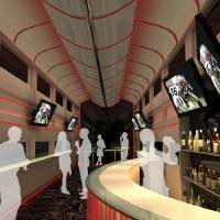 "Photo -   This undated artistic rendering provided by Las Vegas Railway Express shows the interior of the X Train, a proposed luxury ""party train"" that would run from Fullerton, Calif., to downtown Las Vegas. For $99 each way, passengers would get food, drinks, access to two on-board ""ultra lounges"" and other amenities. The company signed an agreement last week with Union Pacific Railroad allowing them to use a set of tracks that leads to downtown Las Vegas but hasn't seen passenger traffic in 15 years."" (AP Photo/Las Vegas Railway Express)"