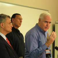 Photo - U.S. Rep. Pat Meehan R-Pa., speaks along with Reps. Rob Andrews, D-N.J., and Frank LoBiondo, R-N.J., at a news conference in Clarksboro, N.J. on Thursday, Dec. 6, 2012. The representatives say there should be a deeper look at the causes and aftermath of the Nov. 30 train derailment in Paulsboro, N.J. (AP Photo/Geoff Mulvihill)
