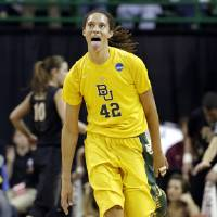 Photo - Baylor center Brittney Griner (42) celebrates after dunking against Florida State in the first half of a second-round game in the women's NCAA college basketball tournament, Tuesday, March 26, 2013, in Waco, Texas. (AP Photo/Tony Gutierrez)