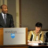Photo -   Kenneth Frazier, chairman of the Penn State Board of Trustees investigative task force, gives an update on the sexual abuse allegations to the Penn State Board of Trustees, Friday, May 4, 2012 in State College, Pa. Penn State alumni elected three new members to the university board of trustees, including a well-known former football player who recovered from a spinal cord injury and a businessman who has criticized the board's actions after Jerry Sandusky's arrest in a child sex-abuse scandal. (AP Photo/Centre Daily Times, Christopher Weddle) MANDATORY CREDIT; MAGS OUT