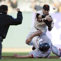 Photo -   San Francisco Giants second baseman Marco Scutaro (19) throws to first as he is taken out by St. Louis Cardinals' Matt Holliday (7) during Game 2 of baseball's National League championship series, Monday, Oct. 15, 2012, in San Francisco. (AP Photo/The Sacramento Bee, Paul Kitagaki Jr.) MAGS OUT; LOCAL TV OUT (KCRA3, KXTV10, KOVR13, KUVS19, KMAZ31, KTXL40); MANDATORY CREDIT