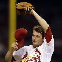 Photo - St. Louis Cardinals starting pitcher Shelby Miller pauses on the mound during the fourth inning of a baseball game against the New York Yankees on Wednesday, May 28, 2014, in St. Louis. (AP Photo/Jeff Roberson)