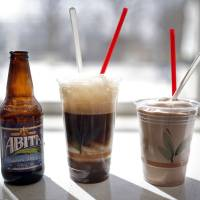 Photo -  Root beet float and chocolate shake at the Ice House. Photo by Sarah Phipps, The Oklahoman   SARAH PHIPPS -