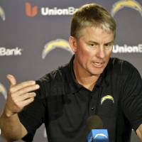 Photo - San Diego Chargers coach Mike McCoy talks about the teams' upset playoff victory over the Cincinnati Bengals and upcoming NFL football game against the Denver Broncos at a news conference Monday, Jan. 6, 2014, in San Diego. (AP Photo/Lenny Ignelzi)
