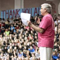 Photo - Doug Brooks with Limbs for Life spoke  during Edmond Memorial High School's final assembly for its  annual fundraiser.  Limbs for Life is a recipient for the funds raised. Photo By David McDaniel/The Oklahoman  David McDaniel - The Oklahoman