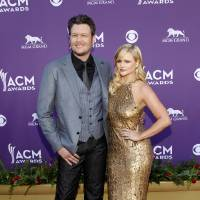 Photo - Blake Shelton, left, and Miranda Lambert arrive at the 47th Annual Academy of Country Music Awards on Sunday, April 1, 2012 in Las Vegas. (AP Photo/Isaac Brekken)