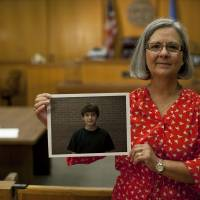 Photo - Advocate volunteer Donna Phillips in the Oklahoma County Juvenile Courtroom.